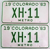 1963 Colorado Metro pair low # XH-11, Chaffee County