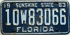 1963 FLORIDA license plate # 10w83066, Broward County