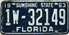 1963 FLORIDA license plate # 1w32149, Dade County