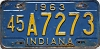 1963 INDIANA license plate # 45A7273