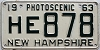 1963 NEW HAMPSHIRE license plate # HE 878