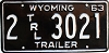 1963 Wyoming Trailer # 3021, Laramie County