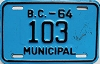 1964 British Columbia Municipal low # 103