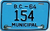 1964 British Columbia Municipal low # 154