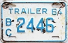 1964 British Columbia Trailer # 2446