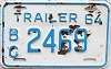 1964 British Columbia Trailer # 2469