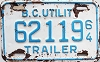 1964 British Columbia Utility Trailer # 62119
