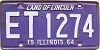 1964 ILLINOIS old license plate # ET 1274