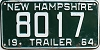 1964 New Hampshire Trailer # 8017