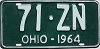 1964 OHIO license plate # 71-ZN