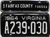 1964 VIRGINIA license plate # A239-030, with Fairfax County vehicle tax tag #106553