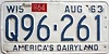 1964 Wisconsin license plate # Q96-261