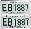 1965 Illinois pair # EB 1887