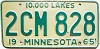 1965 MINNESOTA license plate # 2CM-828