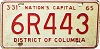 1965 Washington D.C. license plate # 6R443