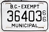 1966 British Columbia Municipal Exempt # 36403