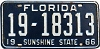 1966 FLORIDA license plate # 19-18313, Brevard County
