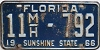 1966 FLORIDA Mobile Home license plate # 11mh792, Volusia County