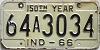 1966 INDIANA 150th Year license plate # 64A3034