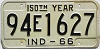 1966 INDIANA 150th Year license plate # 94E1627