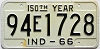 1966 INDIANA 150th Year license plate # 94E1728