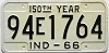 1966 INDIANA 150th Year license plate # 94E1764