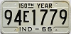1966 INDIANA 150th Year license plate # 94E1779