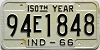 1966 INDIANA 150th Year license plate # 94E1848