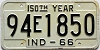 1966 INDIANA 150th Year license plate # 94E1850