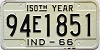 1966 INDIANA 150th Year license plate # 94E1851