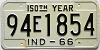 1966 INDIANA 150th Year license plate # 94E1854