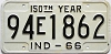 1966 INDIANA 150th Year license plate # 94E1862