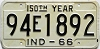 1966 INDIANA 150th Year license plate # 94E1892
