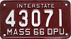 1966 MASSACHUSETTS Interstate Department of Public Utilities license plate # 43071