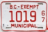 1967 British Columbia Municipal Exempt # 1019