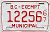 1967 British Columbia Municipal Exempt # 12256