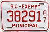 1967 British Columbia Municipal Exempt # 38291