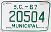 1967 British Columbia Municipal # 20504