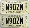 1967 Illinois Amateur Radio pair # W90ZM