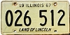 1967 ILLINOIS old license plate # 026 512
