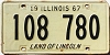 1967 ILLINOIS old license plate # 108 780