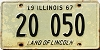 1967 ILLINOIS old license plate # 20 050