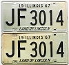 1967 Illinois pair # JF 3014