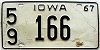 1967 IOWA license plate # 166, Lucas County