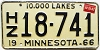 1967 MINNESOTA Travel Trailer license plate # 18-741