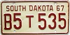 1967 South Dakota Farm Truck # B535, Codington County