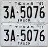 1967 TEXAS TRUCK license plates pair # 3A-5076