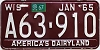 1967 Wisconsin license plate # A63-910