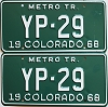 1968 Colorado Metro Tractor pair low # YP-29, Kiowa County