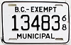 1968 British Columbia Municipal Exempt # 13483
